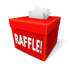 raffle word on the red box