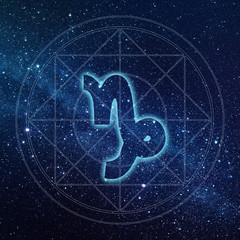 capricorn zodiac sign with Milky way galaxy background