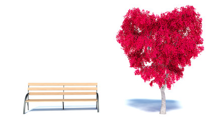 Heart Tree and bench