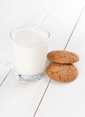 Milk in glass and oatmeal cookies