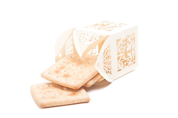 cookies in the original carved pack isolated on white background