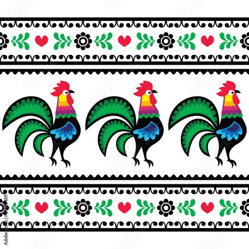 Seamless Polish folk art pattern with roosters - Wycinanka © redkoala
