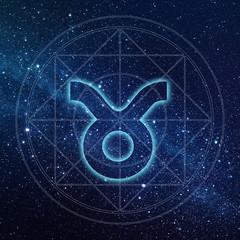 Taurus zodiac sign with Milky way galaxy background