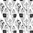 Black and white leaves  Seamless pattern