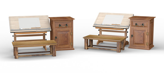 Wooden drawing table with bench and cabinet , clipping path incl