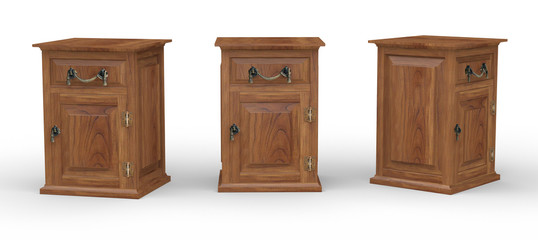 Wooden cabinet with clipping pah