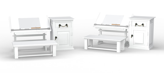 White drawing table with bench and cabinet set , clipping path i