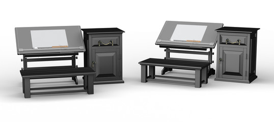 Black drawing table with bench and cabinet set , clipping path i