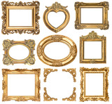 Fototapety golden frames. baroque style antique objects
