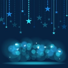 Hanging Stars - Blue Holiday Background
