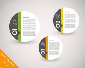 three colorful infographic balls