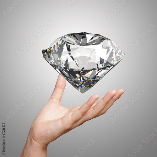 canvas print picture hand holding 3d diamond over white background