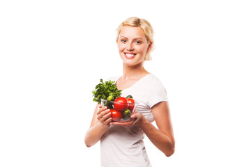 happy woman with a plate full of healthy food. diet