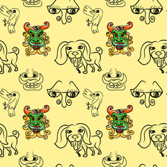 Seemless pattern of doodle cartoon
