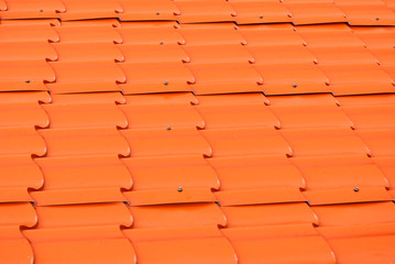 Dusty Orange Metal Sheet Roof Background/ Texture