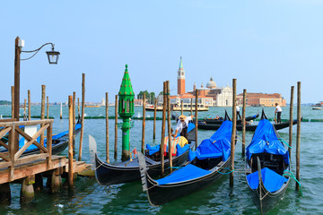 Grande canal and gondolas  in Venice.