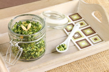 Basil pesto sauce with pine nuts