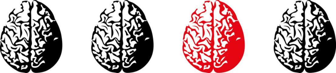 vier Gehirne eines rot