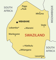 Kingdom of Swaziland - vector map