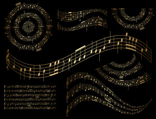 gold musical design elements - vector set