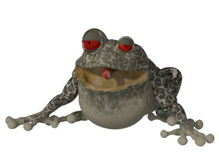 3d happy cartoon frog saying Hello