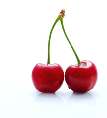 The couple of fresh cherries close-up