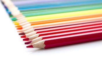 The row of versicolor pencils