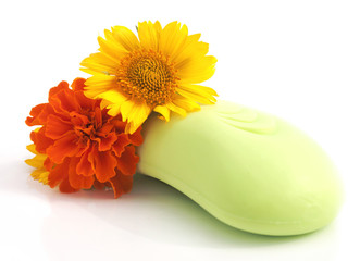 Simple image of soap and flowers