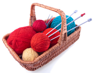 Rectangular basket with knitting kit