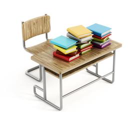 Books on school desk