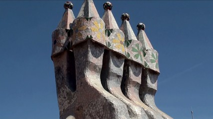 Types of Casa Batlló (House of Bones). Roof's towers. Barcelona
