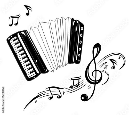 Akkordeon mit Notenblatt, Notenschlüssel und Musiknoten. - 67230052