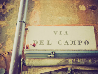 Retro look Via del Campo street sign in Genoa