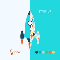 Flat design: rocket. Vector start up concept.