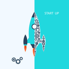Flat design: rocket. Vector start up concept.