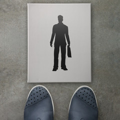 Hand drawn silhouette businessman icon on front of business man