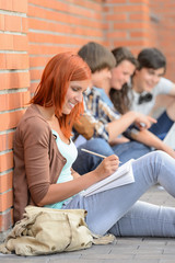 Studying girl writing notes friends sitting background