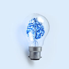 3d metal human brain in a light bulb as creative concept