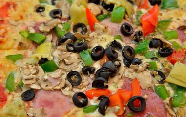 Pizza of so named mafia recipe with black olives