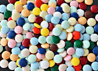 Round candies of different colors