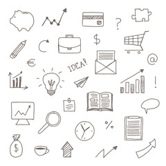 Vector Illustration of Hand DRawn Business Icons