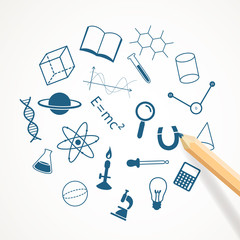 Vector Illustration of Hand Drawn Science Icons