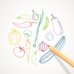 Vector Illustration of a Background with Abstract Vegetables