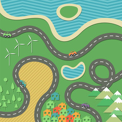 Vector Illustration of an Abstract Landscape