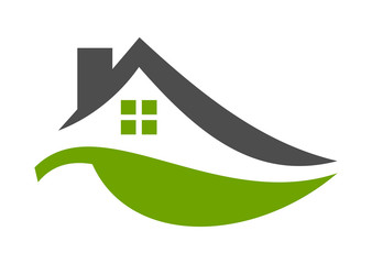 Green Home eco bio house natural real estate logo