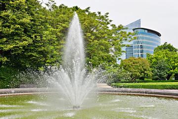 Fountain in public Botanique garden in Brussels