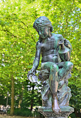 Statue of 19 century in city parc in Brussels