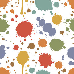 Seamless pattern of colorful stains and splashes