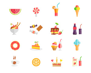 Set of colorful sweets desserts and cakes icons