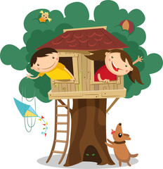 Children having fun in the treehouse. Vector illustration.